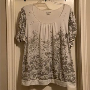 Lane Bryant Top With Banded Waist and Split Sleeve